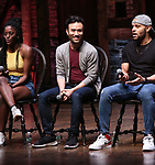 "Johanna Moise, Marc delaCruz and Terrance Spencer during the Q & A before The Rockefeller Foundation and The Gilder Lehrman Institute of American History sponsored High School student #EduHam matinee performance of ""Hamilton"" at the Richard Rodgers Theatre on 5/22/2019 in New York City."