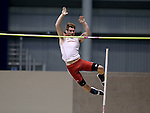 BROOKINGS, SD - FEBRUARY 24:  Jake David from University of South Dakota clears the bar during the men's pole vault Friday afternoon at the Summit League Indoor Championships in Brookings, SD. (Photo by Dave Eggen/Inertia)