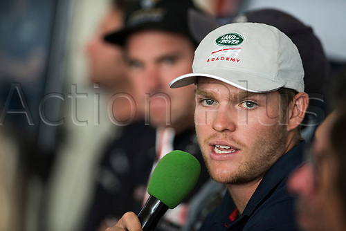 Jul 20th 2017, Barcelona, Spain; Extreme Sailing Series, Act 4; Thursday Press Conference; Skipper Rob Bunce (GBR) of TEAM LAND ROVER Bar Academy during the press conference