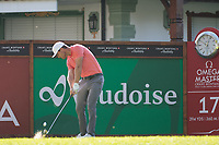 Lucas Bjerregaard (DEN) in action on the 17th hole during second round at the Omega European Masters, Golf Club Crans-sur-Sierre, Crans-Montana, Valais, Switzerland. 30/08/19.<br /> Picture Stefano DiMaria / Golffile.ie<br /> <br /> All photo usage must carry mandatory copyright credit (© Golffile | Stefano DiMaria)