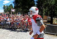 Aug. 1, 2009; Flagstaff, AZ, USA; Fans cheer as Arizona Cardinals quarterback Matt Leinart enters the field during training camp on the campus of Northern Arizona University. Mandatory Credit: Mark J. Rebilas-