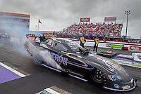 Apr 27, 2014; Baytown, TX, USA; NHRA funny car driver Alexis DeJoria during the Spring Nationals at Royal Purple Raceway. Mandatory Credit: Mark J. Rebilas-
