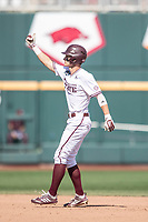 Mississippi State Bulldogs outfielder Jake Mangum (15) celebrates hitting a double during Game 8 of the NCAA College World Series against the Vanderbilt Commodores on June 19, 2019 at TD Ameritrade Park in Omaha, Nebraska. Vanderbilt defeated Mississippi State 6-3. (Andrew Woolley/Four Seam Images)