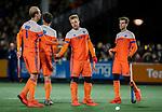 AMSTELVEEN - Mink van der Weerden (Ned) scoort   tijdens de hockeyinterland Nederland-Ierland (7-1) , naar aanloop van het WK hockey in India. links Valentin Verga (Ned)  COPYRIGHT KOEN SUYK