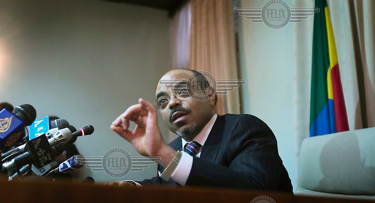 Prime Minister Meles Zenawi at a press conference.