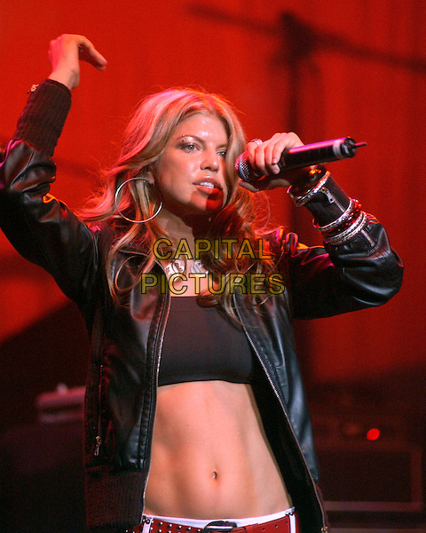 FERGIE OF THE BLACK EYED PEAS.performs live at The Wiltern Theatre in Los Angeles, California .25 March 2004.*UK Sales Only*.live, music, gig, stage, concert, singing, cropped top, bra, midriff, stomach, belly button.www.capitalpictures.com.sales@capitalpictures.com.©Capital Pictures.