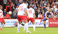 Cameron McGeehan of Luton Town puts his side in the lead during the Sky Bet League 2 match between Stevenage and Luton Town at the Lamex Stadium, Stevenage, England on 20 August 2016. Photo by Liam Smith.