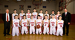 LITCHFIELD, CT-031518JS06- Members of the Wamogo High School boys basketball team pose for a photo after practice on Thursday as they prepare for their Division V championship game against Cromwell at the Mohegan Sun Arena Saturday.<br />  Jim Shannon Republican-American