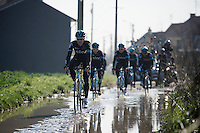 Salvatore Puccio (ITA/Sky) leads his teammates through a soaked Haveluy (to Wallers) sector <br /> <br /> 2015 Paris-Roubaix recon with Team SKY