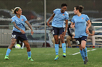 Piscataway, NJ, May 7, 2016.  Tasha Kai (32), Maya Hayes (5) and Kelley O'Hara (19) of Sky Blue FC celebrate Maya Hayes' goal.  The Western New York Flash defeated Sky Blue FC, 2-1, in a National Women's Soccer League (NWSL) match at Yurcak Field.
