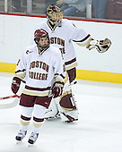 Dan Bertram 22 and Cory Schneider 1 of Boston College celebrate a goal.  The Eagles of Boston College defeated the Falcons of Bowling Green State University 5-1 on Saturday, October 21, 2006, at Kelley Rink of Conte Forum in Chestnut Hill, Massachusetts.<br />