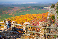 A panoramic view of the Arkansas River Valley viewed from Cameron Bluff in Mount Magazine State Park in Arkansas. Mount Magazine is the highest point in Arkansas at 2,753 feet above sea level.