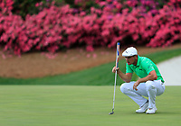 Bryson DeChambeau (USA) on the 13th during the 1st round at the The Masters , Augusta National, Augusta, Georgia, USA. 11/04/2019.<br /> Picture Fran Caffrey / Golffile.ie<br /> <br /> All photo usage must carry mandatory copyright credit (&copy; Golffile | Fran Caffrey)