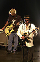 Pictured L-R: Mike Randle, Arthur Lee 20 March 2004<br /> Re: Love with Arthur Lee at the Brycheiniog Theatre in Brecon, Powys, Wales, UK