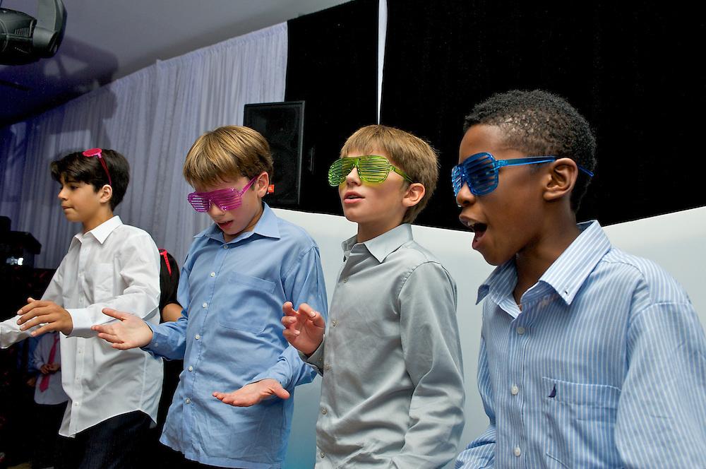 Boys having fun dancing at a Bar Mitzvah