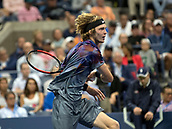 6th September 2017, Flushing Meadowns, New York, USA;  Andrey Rublev (RUS) in action during his quarter-final match at the US Open, played at the USTA Billie Jean King National Tennis Center, Flushing, NY
