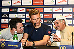Mark Cavendish (GBR) Team Dimension Data and Marcel Kittel (GER) Team Katusha Alpecin at the top riders press conference for the Dubai Tour 2018 the Dubai Tour&rsquo;s 5th edition held at Dubai Frame in Zabeel Park, Dubai, United Arab Emirates. 5th February 2018.<br /> Picture: LaPresse/Massimo Paolone | Cyclefile<br /> <br /> <br /> All photos usage must carry mandatory copyright credit (&copy; Cyclefile | LaPresse/Massimo Paolone)