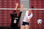 03 DEC 2011:  Cassie Haag (2) of Concordia University St. Paul hits a shot over Samantha Middleborn (8) of Cal State San Bernardino during the Division II Women's Volleyball Championship held at Coussoulis Arena on the Cal State San Bernardino campus in San Bernardino, Ca. Concordia St. Paul defeated Cal State San Bernardino 3-0 to win the national title. Matt Brown/ NCAA Photos