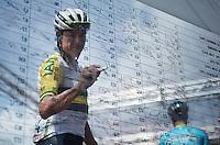 Australian National Champion Heinrich Haussler (AUS/IAM) signing in<br /> <br /> Giro d'Italia 2015<br /> stage 19: Gravellona Toce - Cervinia (236km)