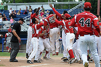Batavia Muckdogs catcher Rodrigo Vigil (27) is mobbed by teammates after hitting a walk off two run home run in the bottom of the ninth inning during a game against the Williamsport Crosscutters on July 27, 2014 at Dwyer Stadium in Batavia, New York.  Batavia defeated Williamsport 6-5.  (Mike Janes/Four Seam Images)