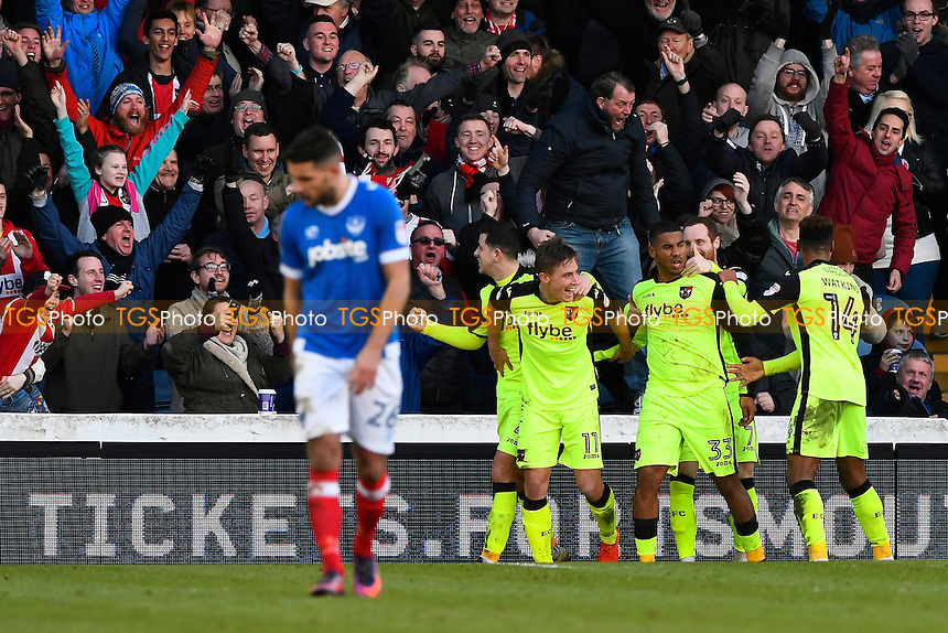 David Wheeler of Exeter City (11) celebrates his goal as Gareth Evans of Portsmouth left looks dejected during Portsmouth vs Exeter City, Sky Bet EFL League 2 Football at Fratton Park on 28th January 2017