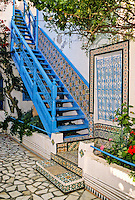 Tunisia, Sidi Bou Said.  Stairway in Dar Annabi, a Private Home open for Public Viewing.  Originally constructed 18th. century, remodeled 20th. century.