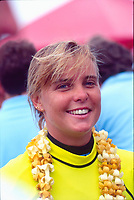 Wendy Botha (AUS) after the completion of the 1991 Hard Rock Cafe contest at Sunset Beach in Hawaii. Photo: joliphotos.com