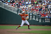 Brooks Marlow #8 of the Texas Longhorns throws during Game 1 of the 2014 Men's College World Series between the UC Irvine Anteaters and Texas Longhorns at TD Ameritrade Park on June 14, 2014 in Omaha, Nebraska. (Brace Hemmelgarn/Four Seam Images)