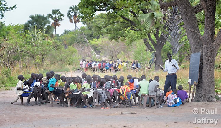 Classes are held outdoors at the Loreto Primary School in Rumbek, South Sudan. The school is run by the Institute for the Blessed Virgin Mary--the Loreto Sisters--of Ireland.