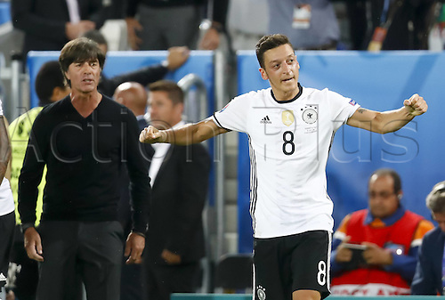 02.07.2016. Bordeaux, France. 2016 European football championships. Quarterfinals match. Germany versus Italy.  Goal celebration from scorer Mesut Ozil (Ger) in front of trainer Joachim LOEW