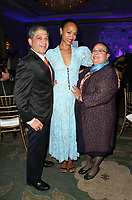 LOS ANGELES, CA - NOVEMBER 8: Zoe Saldana, Dagoberto Galan, Asalia Nazario, at the Eva Longoria Foundation Dinner Gala honoring Zoe Saldana and Gina Rodriguez at The Four Seasons Beverly Hills in Los Angeles, California on November 8, 2018. Credit: Faye Sadou/MediaPunch
