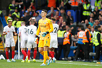 GOAL - Kepa Arrizabalaga of Chelsea rues the late goal from Lys Mousset of Sheffield United during the Premier League match between Chelsea and Sheff United at Stamford Bridge, London, England on 31 August 2019. Photo by Carlton Myrie / PRiME Media Images.