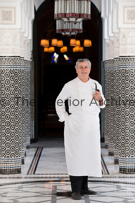 Chef Alfonso Jaccarino posing in the courtyard of the Hotel La Mamounia