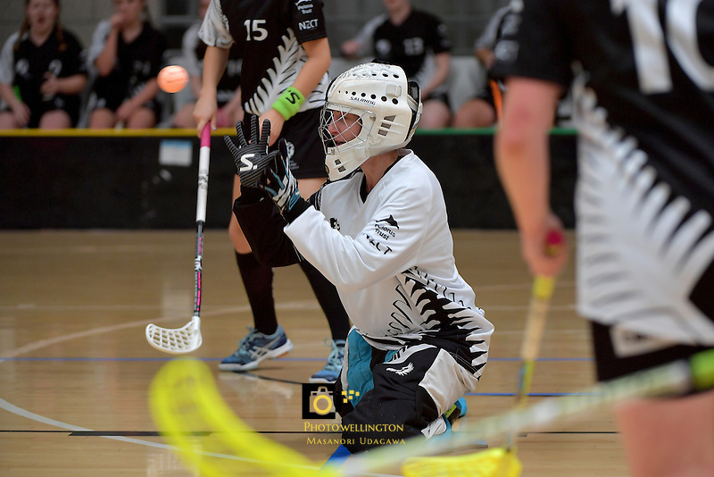 New Zealand's Maria Hegarty in action during the World Floorball Championships 2017 Qualification for Asia Oceania Region - New Zealand v Korea at ASB Sports Centre , Wellington, New Zealand on Sunday 5 February 2017.<br /> Photo by Masanori Udagawa<br /> www.photowellington.photoshelter.com.