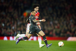 Nathaniel Clyne of Liverpool and Marouane Fellaini of Manchester United during the UEFA Europa League match at Old Trafford. Photo credit should read: Philip Oldham/Sportimage