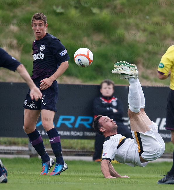 Dumbarton's Jim Lister tries to do an overhead kick and falls on his backside