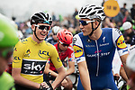 Yellow Jersey Christopher Froome (GBR) Team Sky jokes with Marcel Kittel (GER) Quick-Step floors as they wait for the start of the 2017 Tour de France Skoda Shanghai Criterium, Shanghai, China. 29th October 2017.<br /> Picture: ASO/Pauline Ballet | Cyclefile<br /> <br /> <br /> All photos usage must carry mandatory copyright credit (&copy; Cyclefile | ASO/Pauline Ballet)