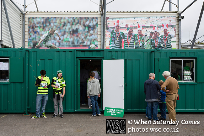 Yeovil Town 0 Queens Park Rangers 1, 21/09/2013. Huish Park, Championship. Fans entering the Yeovil Supporters Club, outside The Augusta Westland Stand. Photo by Paul Thompson.