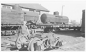 D&amp;RGW narrow gauge yard in Alamosa.  Arch for trucks center plate has been built up for some reason.<br /> D&amp;RGW  Alamosa, CO  Taken by Berkstresser, George - 5/22/1965