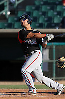 Eddy Rodriguez #10 of the Lake Elsinore Storm bats against the Lancaster JetHawks at Clear Channel Stadium on May 11, 2012 in Lancaster,California. (Larry Goren/Four Seam Images)