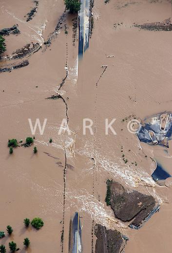 Road washout at Idaho Creek, Colorado.  Flooding of Boulder Creek.  Weld Co Rd 24 1/2.