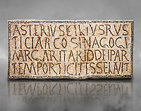 6th century Inscription of the great hall of the synagogue of Nam-Ham-mam-Lif in the Roman province of Africa Proconsularis, present day Tunisia. The mosaic floor of the vestibule (porticus) was an offering from Asterius son of Rusticus, the Head of the Jewish community who was working in the Naro jewellers trade. The mosaic reads in Latin  &quot;Asterius, filius Rustici, arcosinagogi, margaritari, (de d(onis) dei partemporticites-selavit&quot;.  The Bardo National Museum, Tunis Tunisia. Against a grey art background.<br /> <br /> The so called synagogue of Naro (Hammam-Lif, Tunisia), discovered in 1883, is a square buil-ding (20 by 20 m), consisting of several rooms and hallways communicating with an inner courtyard. The plan is inspired by traditional domestic architecture of Roman Africa. The room, dedicated to religious ceremonies, was paved with a magnificent mosaic of several figured panels with an iconography highlighting Judaeo-Christian concepts, attesting a proselyte attitude addressing a local Judaic community, who was very active between the late fifth c. and the early sixth century AD.