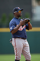 Gwinnett Braves third baseman Adonis Garcia (18) on defense against the Charlotte Knights at BB&T BallPark on July 3, 2015 in Charlotte, North Carolina.  The Braves defeated the Knights 11-4 in game one of a day-night double header.  (Brian Westerholt/Four Seam Images)
