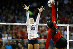 KANSAS CITY, KS - DECEMBER 14: Simone Lee #22 of Penn State University jumps for a block against the University of Nebraska during the Division I Women's Volleyball Semifinals held at Sprint Center on December 14, 2017 in Kansas City, Missouri. (Photo by Tim Nwachukwu/NCAA Photos via Getty Images)