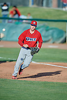 David Clawson (24) of the Orem Owlz on defense against the Ogden Raptors at Lindquist Field on June 22, 2019 in Ogden, Utah. The Owlz defeated the Raptors 7-4. (Stephen Smith/Four Seam Images)