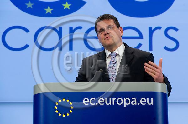 Brussels-Belgium - March 11, 2010 -- Maros SEFCOVIC (?ef?ovi?, Maro?), Vice-President of the European Commission, from Slovakia and in charge of Inter-institutional Relations and Administration, during a press conference on a new recruitment system for EPSO (European Personnel Selection Office / careers in the EU), in the HQ of the EC -- Photo: Horst Wagner / eup-images