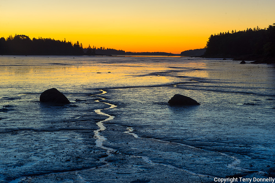 Deer Isle, Maine:<br /> Pre-dawn reflections color the patterned tide flats of a Deer Isle cove