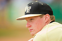 John McLeod #40 of the Wake Forest Demon Deacons watches the action against the LSU Tigers at Alex Box Stadium on February 20, 2011 in Baton Rouge, Louisiana.  The Tigers defeated the Demon Deacons 9-1.  Photo by Brian Westerholt / Four Seam Images
