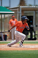 GCL Astros Gerry Castillo (8) bats during a Gulf Coast League game against the GCL Marlins on August 8, 2019 at the Roger Dean Chevrolet Stadium Complex in Jupiter, Florida.  GCL Marlins defeated GCL Astros 5-4.  (Mike Janes/Four Seam Images)