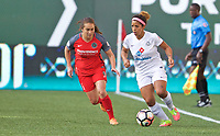 Portland, OR - Wednesday June 28, 2017: Desiree Scott, Meleana Shim during a regular season National Women's Soccer League (NWSL) match between the Portland Thorns FC and FC Kansas City at Providence Park.